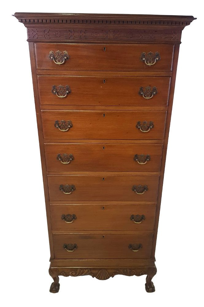 1920's Mahogany Tall Boy After Chippendale Tall boys