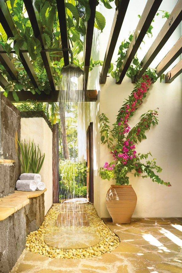 Open Air Shower In The Outdoor Bathroom At One Only Le Saint Géran Beach Hotel Mauritius