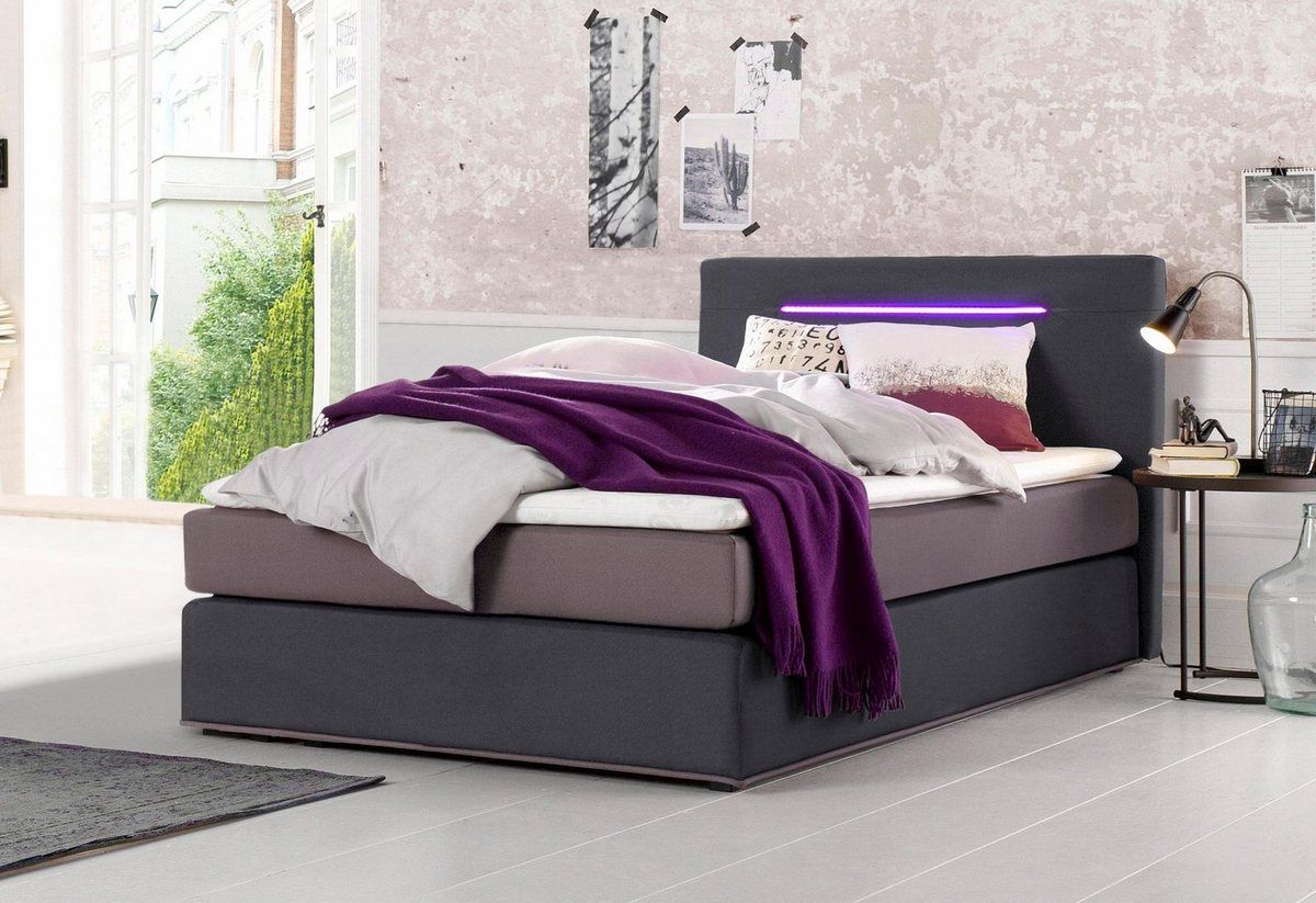 Boxspringbett Inkl Led Beleuchtung Mit Farbwechsel Und Topper