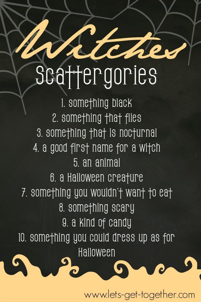 Free printable game of Witches Scattergories from Let's
