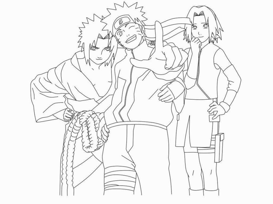 Naruto Team 7 Coloring Pages Chibi Coloring Pages Cartoon