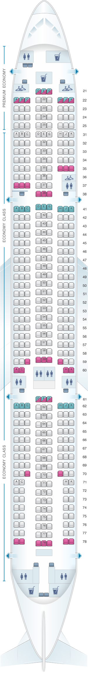 Seat Map Philippine Airlines Airbus A330 300 414pax