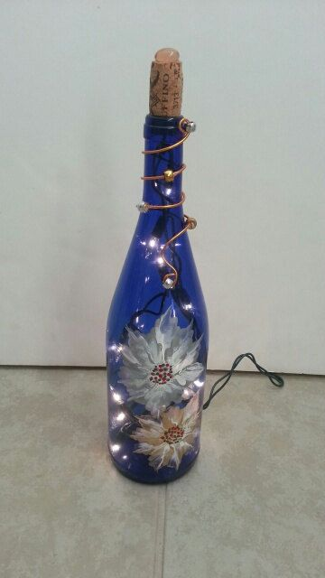 Hand-Painted Wine Bottle Lamp by GlassBottleLamps on Etsy