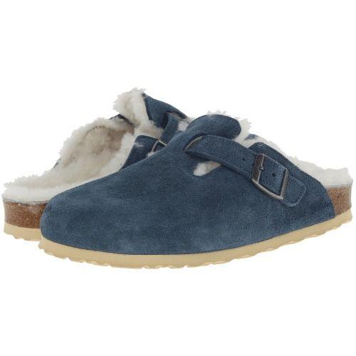 68bd6abd2a0a  160.00 Birkenstock Boston Shearling (Steel Blue Suede Shearling) Women s  Clog Shoes