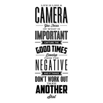 Inspirational quote print life is like a camera printable quote poster typography poster