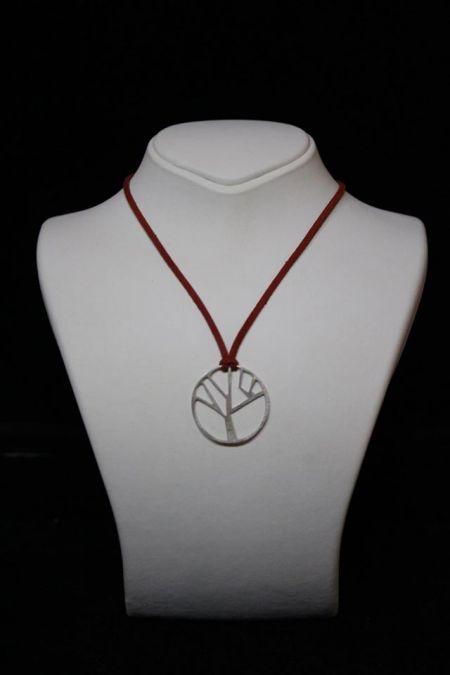 gümüş plaka ağaç kolye - silver pendant