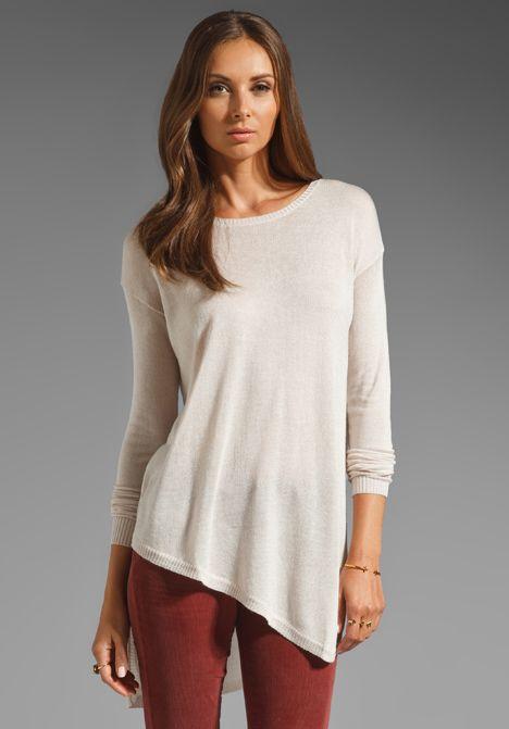 WILT Tissue Gauge Uneven Sweater in Plaster - Sweaters & Knits