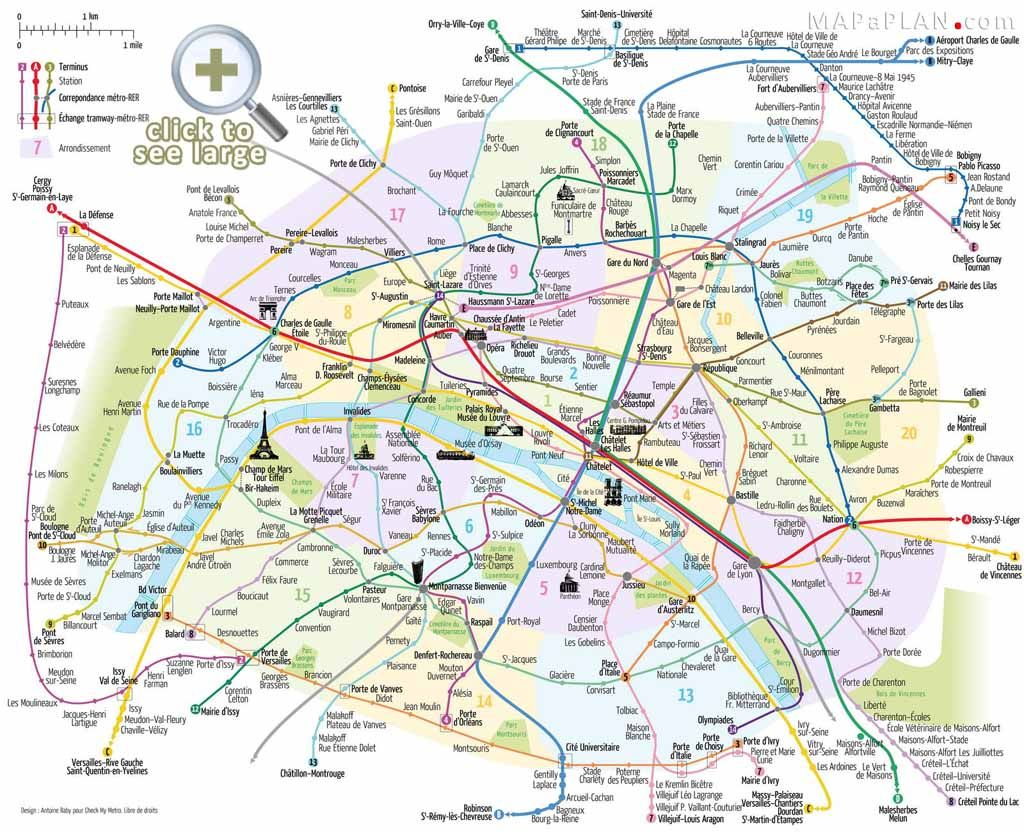 Paris top tourist attractions map Metro with favourite sights – Map Subway Paris