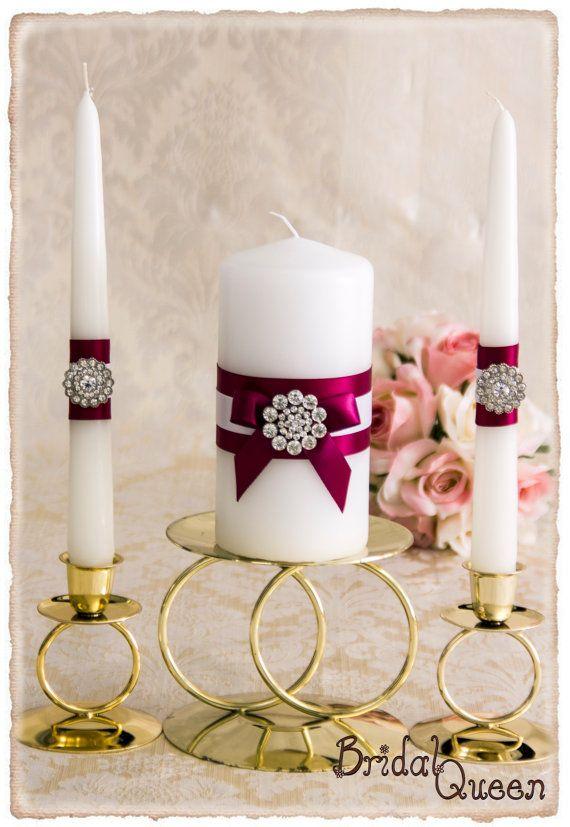 Wedding unity candle set burgundy wedding candles rhinestone