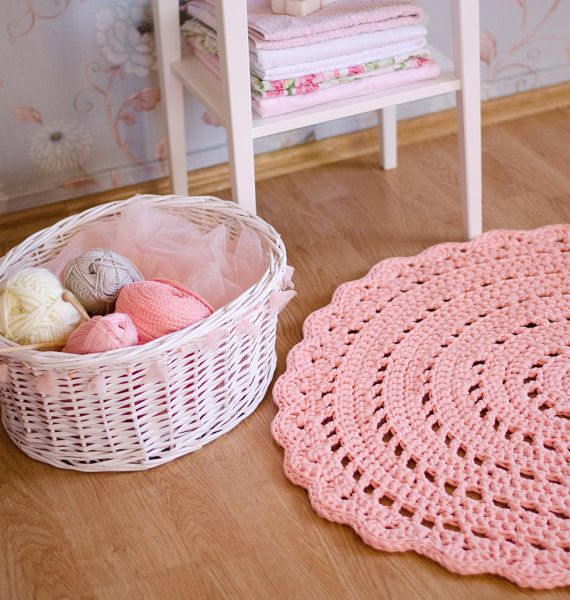 Lachs Rosa häkeln Teppich Bodenmatte Kinderzimmer von MeruHome ...