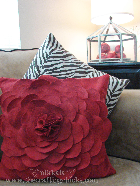 Felt Flower Pillow | Felt flower pillow, Flower pillow ...