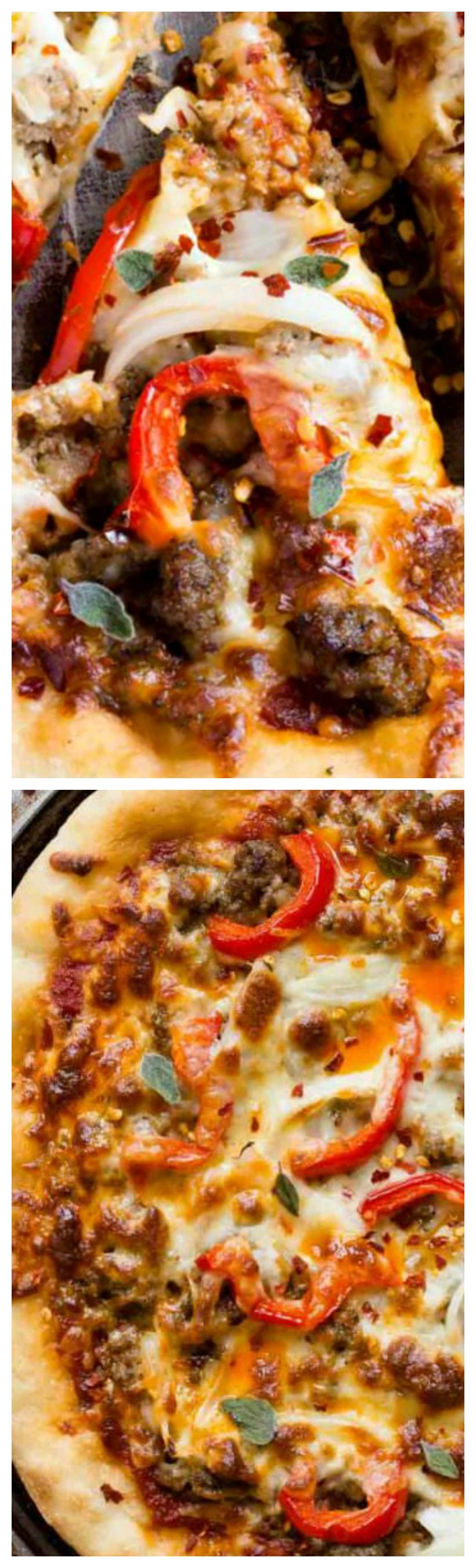 Spicy Sausage Pizza ~ The pizza is good and ready in just 15 minutes... It's super simple to make and will please your spicy food loving friends and family.