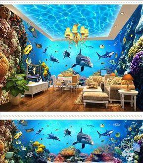 Underwater world aquarium theme space entire room