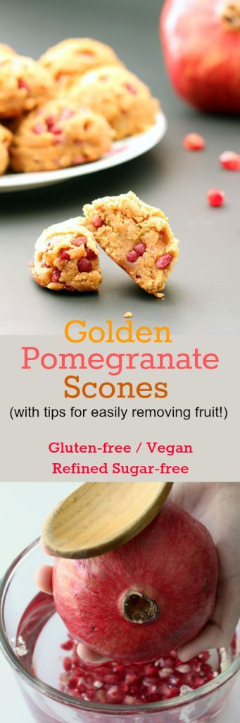 Nutritionicity | Recipe: Golden Pomegranate Scones with tips for easily removing Arils / Fruit (Gluten-Free, Vegan / Plant-Based, Refined Sugar-Free) Golden Pomegranate Scones are tiny bursts of sweet and tart pomegranate juice complemented by the caramel-like sweetness of golden raisins. Recipe at http://www.nutritionicity.com/recipes/recipe-golden-pomegranate-scones-with-tips-for-easily-removing-arils-fruit-gluten-free-vegan-plant-based-refined-sugar-free/
