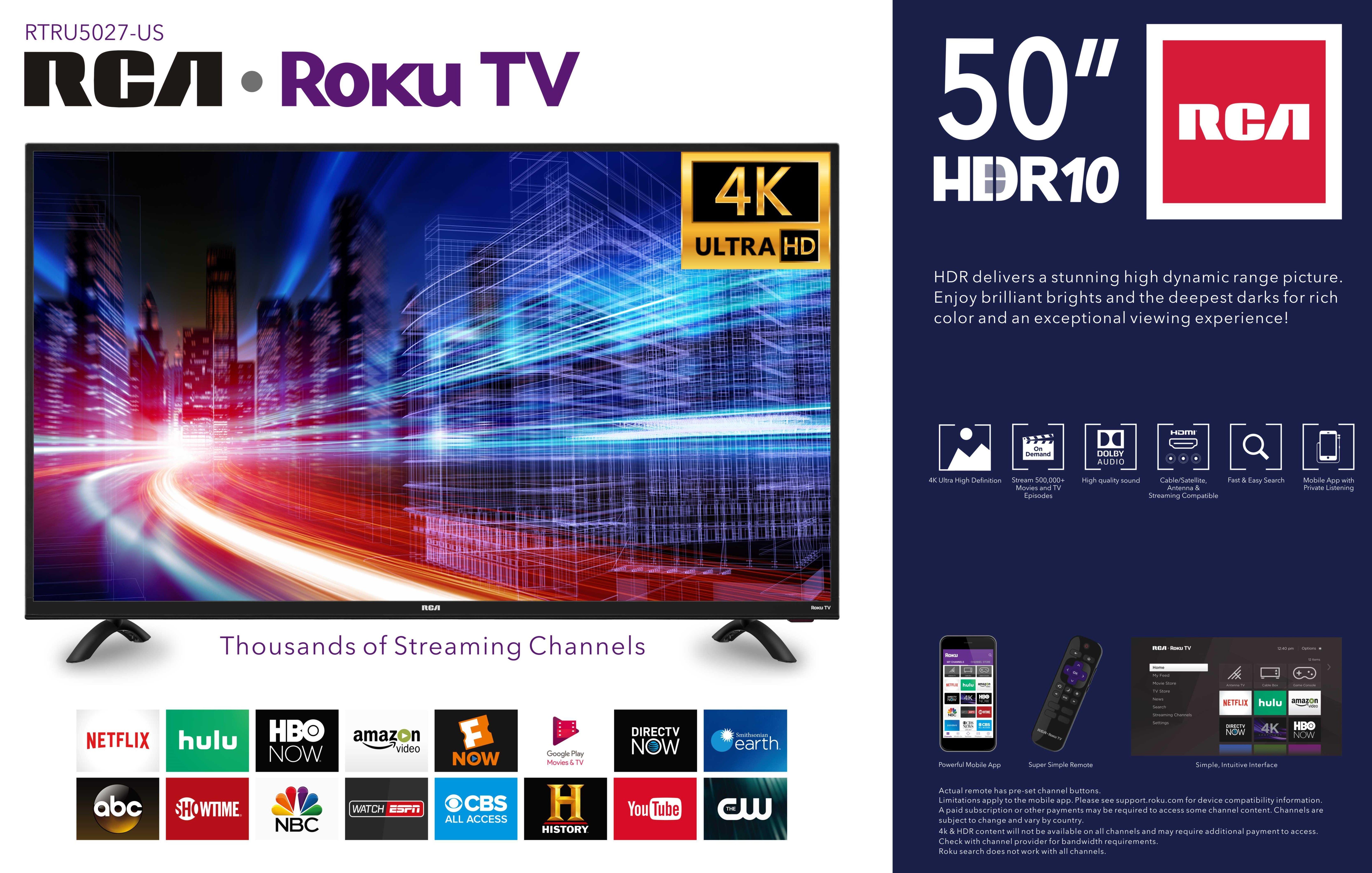 Rca 50 Class 4k Ultra Hd 2160p Hdr Roku Smart Led Tv Rtru5027