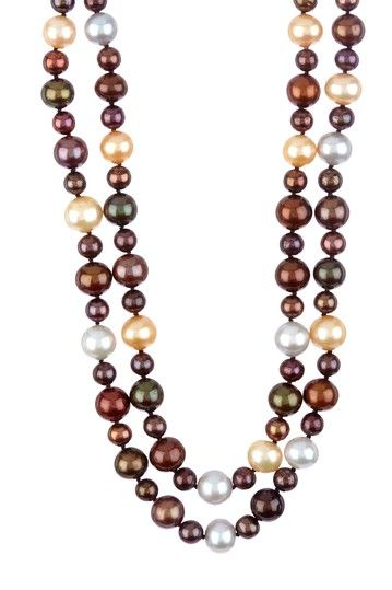 Jewelmak 9-12mm Multicolor Freshwater Pearl Double Row Statement Necklace