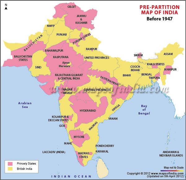 India As It Was Before The Partition Note The Areas Demarcated In