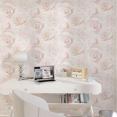 Papier peint LIT DE ROSES coloris rose tendre | Blush rose, Papier ...