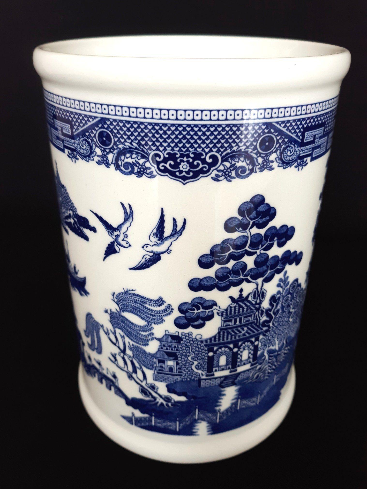 Vintage Blue Willow Glazed Ceramic Utensils Holder