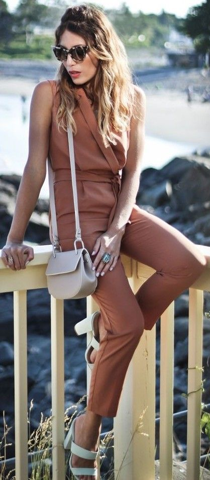 #summer #casual #outfits |  Dusty Pink Jumpsuit
