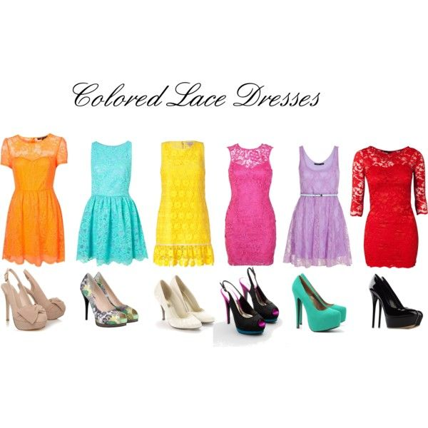 Colored Lace Dresses, created by callirobinson23 on Polyvore