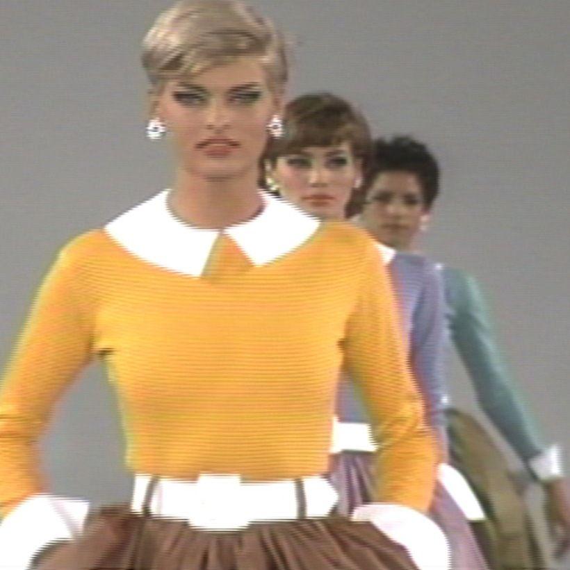 Linda Evangelista 1990s fashion show screen grab from Fashion Flashbacks! DVD