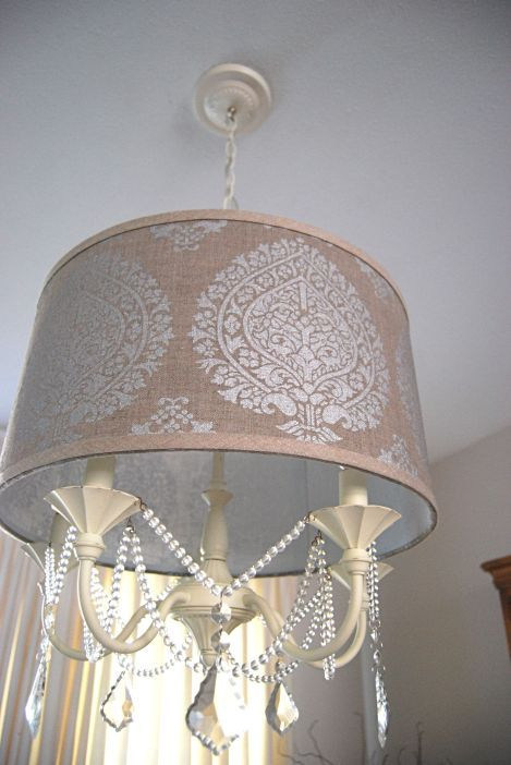 Diy drum shade chandelier hang over beaded chandelier the diy drum shade chandelier hang over beaded chandelier the darker color helps to conceal the possible heat warp from bulbs mozeypictures Images