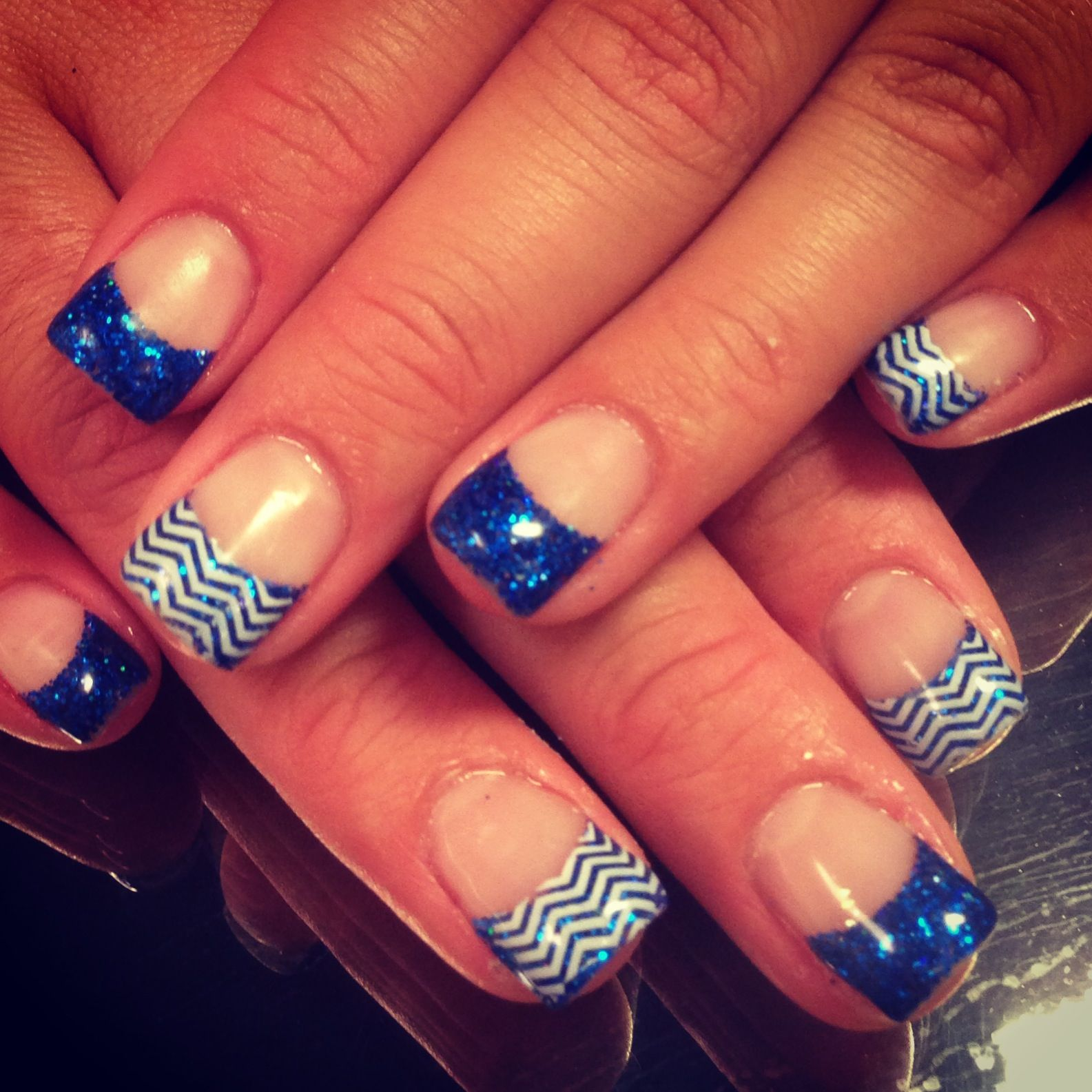 Blue Prom Nails: Royal Blue Nails! Chevron!