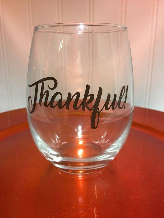 f4596c8f19c Thankful stemless wine glass. Thankful wine glasses. 21 oz. Stemless ...