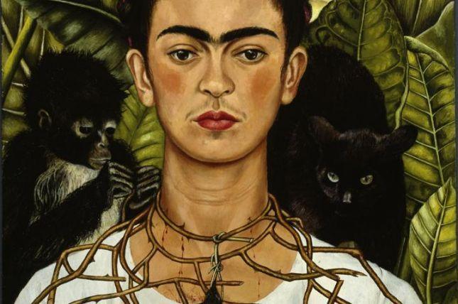 Frida Kahlo Selbstbildnis Mit Dornenhalsband 1940 Autorretrato Con Collar De Espinas Y Colibrí Self Portrait With Thorn Necklace And Hummingbird
