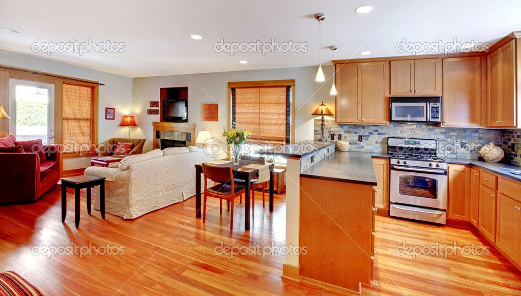 Pictures Of Open Floor Plan Kitchen Living Area