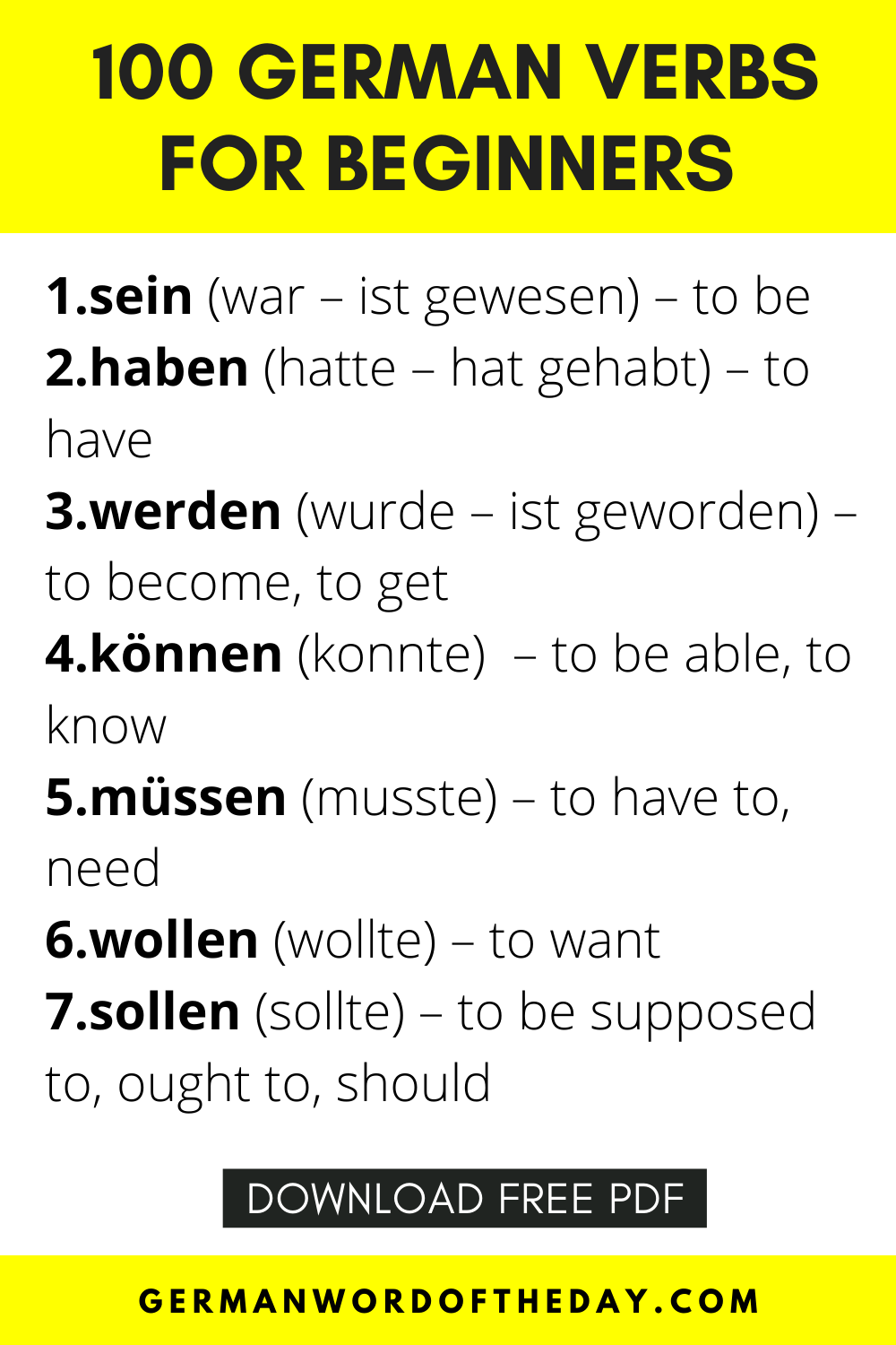 Top 100 German Verbs For Beginners Pdf With Sentence Examples And Past Participle In 2021 German Verbs German Language Learning German Language