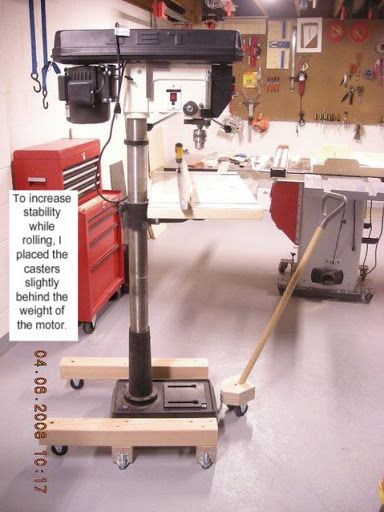 mobile base for floor standing drill press - the garage journal