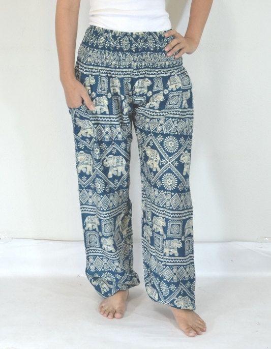Blue Elephants Pants Boho Style Printed Hippies Massage Harem Pants Gypsy  Pantalon Tribal Rayon Comfy Fabric Clothing Beach Summer Men women