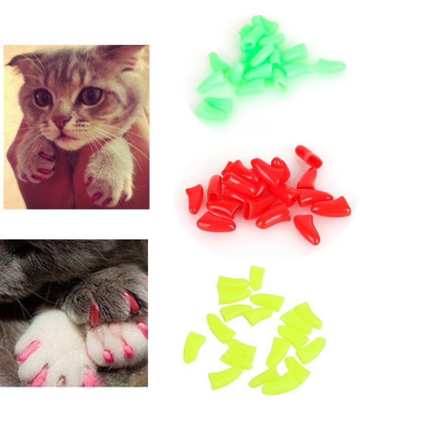 Hot 20Pcs/Bag Colorful Soft Rubber Pet Dog Cat Kitten Paw Claw Nail ...