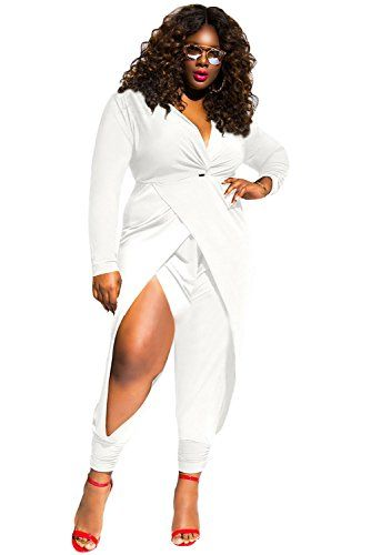 Ow Women White Twist Knot Slit Long Sleeve Plus Size Jumpsuit Xxl