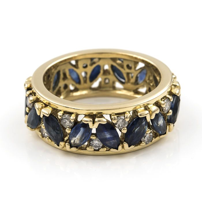 18 kt (750/1000) geel goud - Ring - Marquise-cut saffieren - Brilliant-cut diamant-Inner ring diameter: 16.60 mm (ca.). Grootte: 11 (SP)  EUR 1.00  Meer informatie