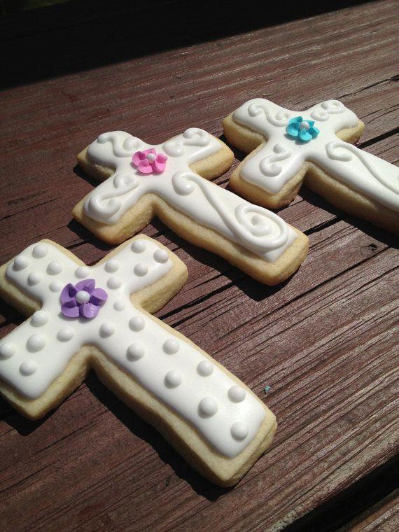 Cross Sugar Cookies  Communion / Christening / by SugarMamabyKim, $24.00