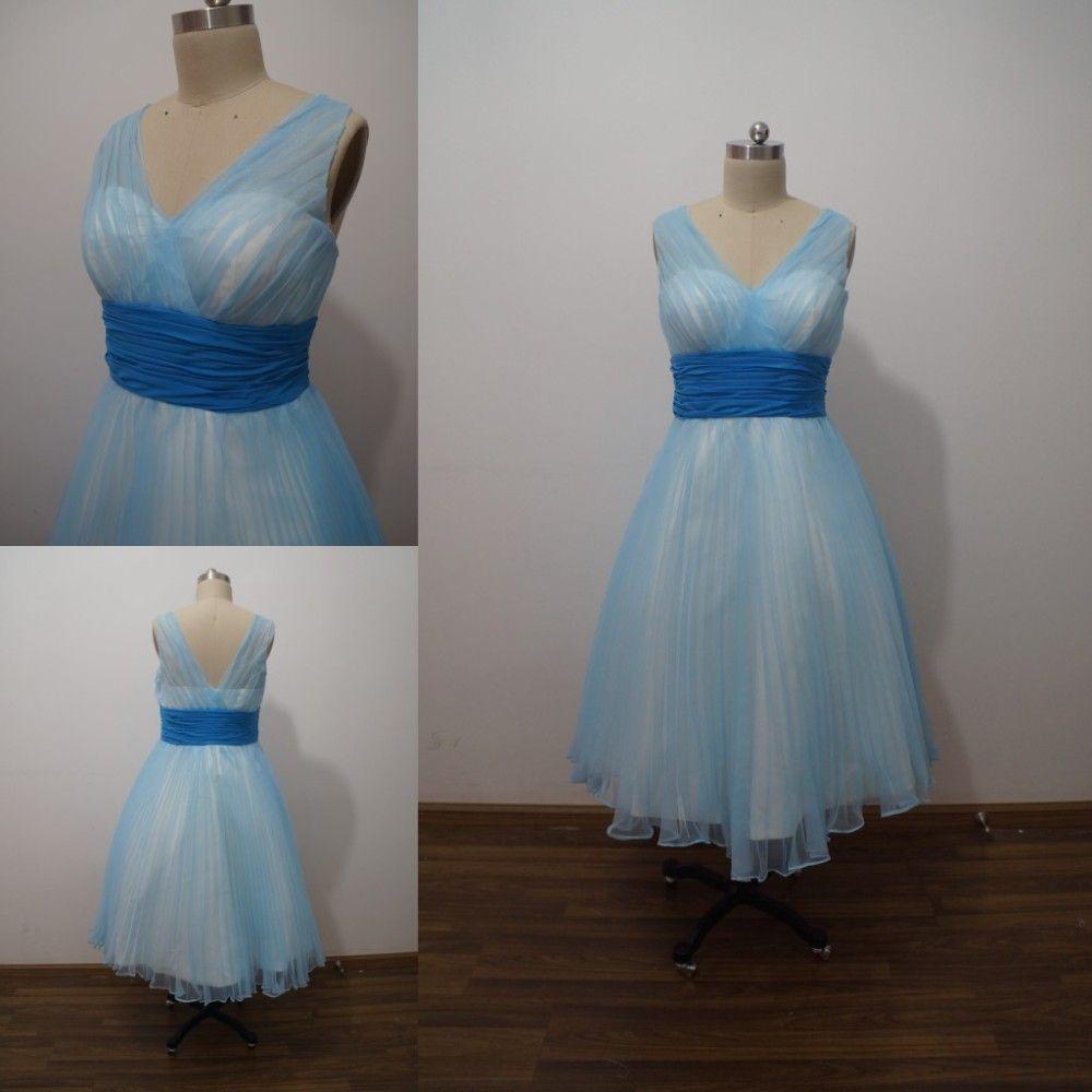 Tea Length Prom Dress , Sky Blue Tulle