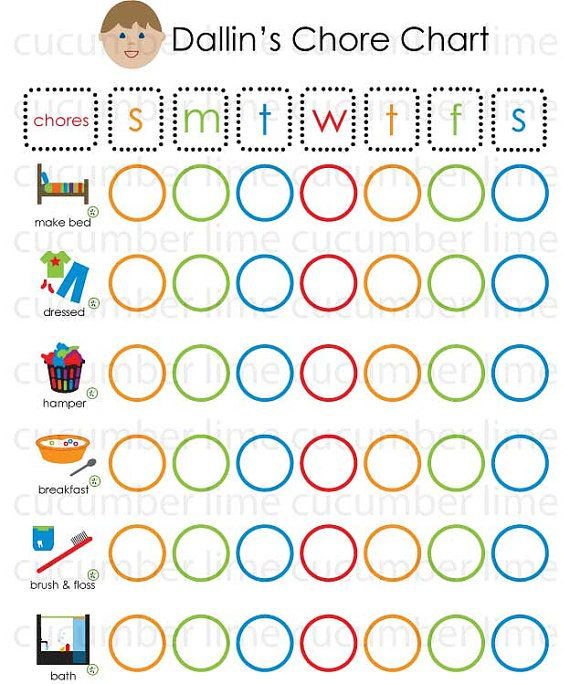 Personalized Chore Chart Pdf | Child, Face And Parents