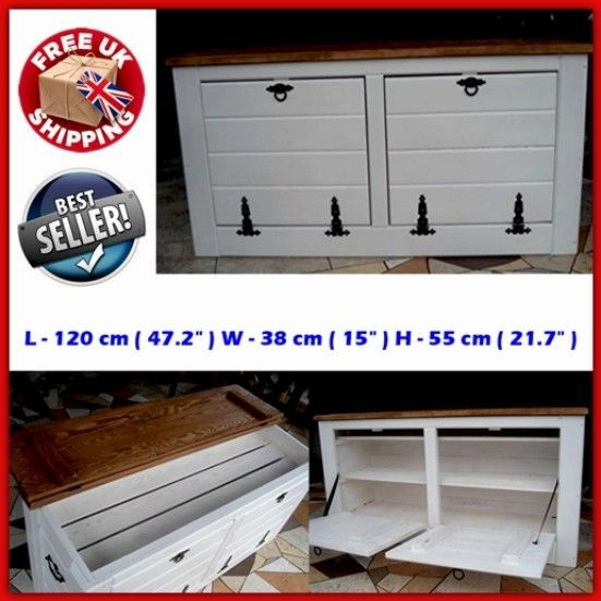 Cupboard Cabinet Rack Storage Chest Shoe Box Seat Bench Wooden Home  Furniture UK