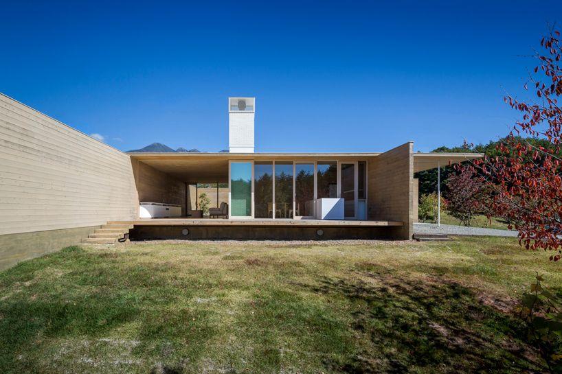 shigeru ban designs 'miesian' house in japan built from solid cedar