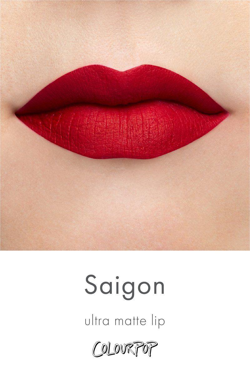 Saigon Vibrant Warm Toned True Red Ultra Matte Lipstick Swatch On