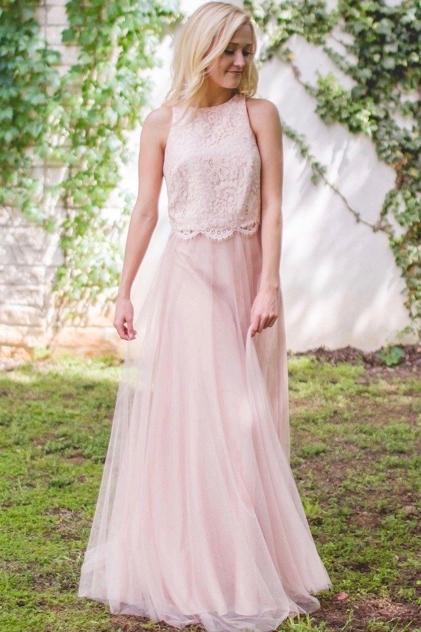 Pink lace wedding dress  Two Pieces Blush Pink Lace Bridesmaid Dresses  dresses  Pinterest
