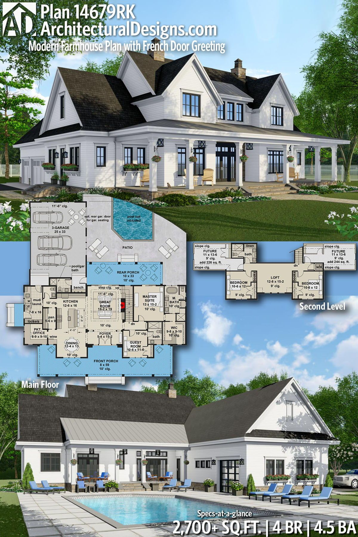 Plan 14679RK: Modern Farmhouse Plan with French Door Greeting #buildingahouse