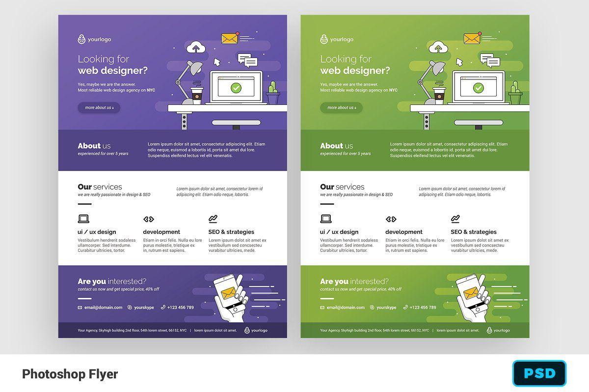 Ad Web Designer Flyer By Bornx On Creativemarket Premium Flyer Template For Adobe Photoshop Perf Web Design Web Design Studio Web Design Inspiration Layout