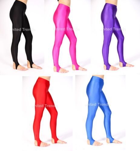 53f7be954 Girls Children Kids Stirrup Leggings Dance Gymnastics Shiny Nylon Lycra