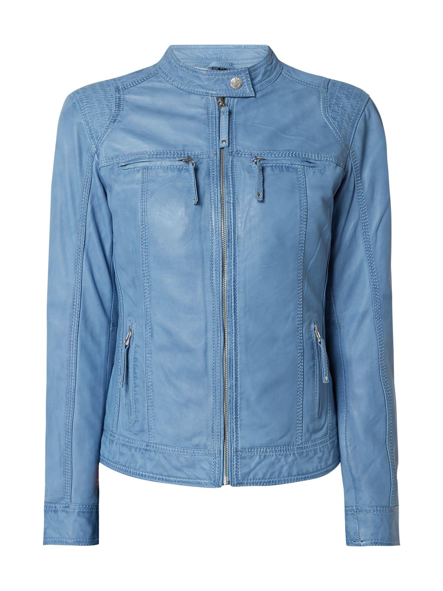 Cabrini – Lederjacke mit Reißverschlusstaschen – Himmelblau