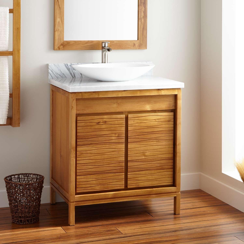 30 Becker Teak Vessel Sink Vanity Natural Teak Bathroom Vanities Bathroom Teak Vanity Teak Bathroom Vessel Sink Vanity