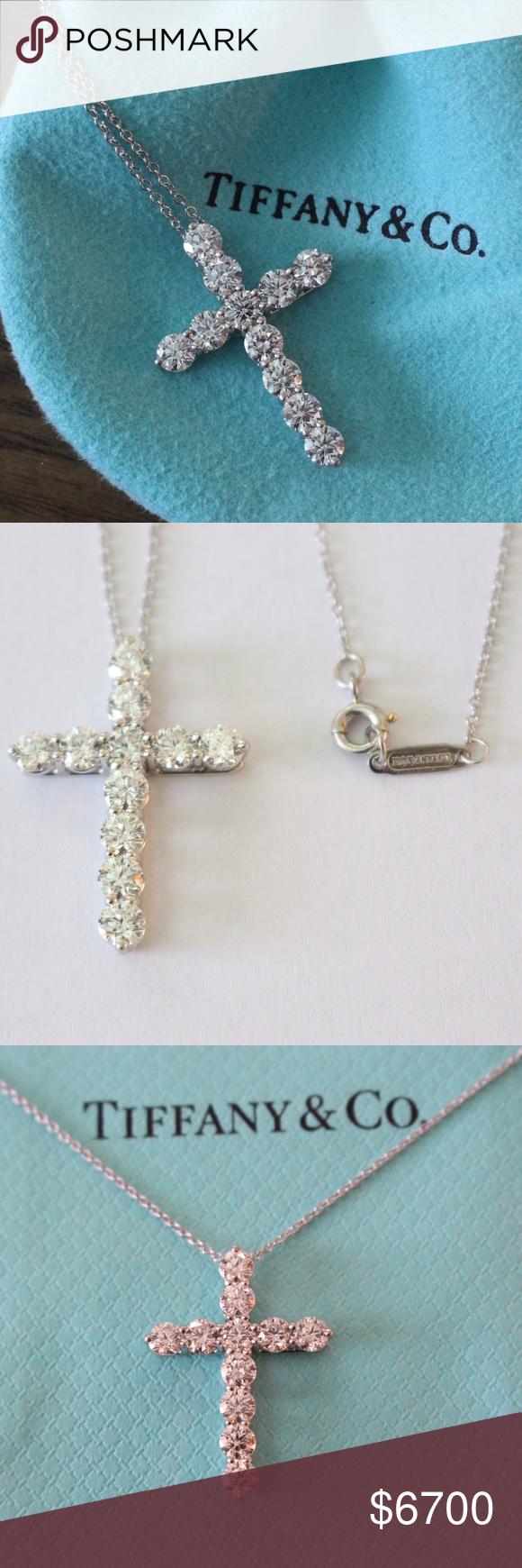 Tiffany co large diamond cross 171 ct pt950 tiffany co tiffany co large diamond cross 171 ct pt950 tiffany co diamond necklace large mozeypictures Choice Image